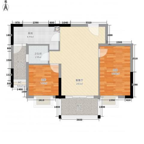 顺欣广场二期2室1厅1卫1厨92.00㎡户型图