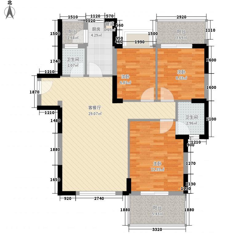一城峰景99.67㎡一城峰景户型图一单元D单位3#23奇数层3室2厅2卫1厨户型3室2厅2卫1厨