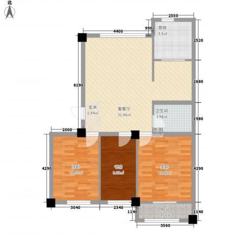 高新・锦绣北山3室1厅1卫1厨111.00㎡户型图
