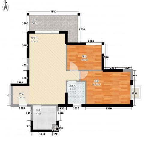 太微花园2室1厅1卫1厨90.00㎡户型图