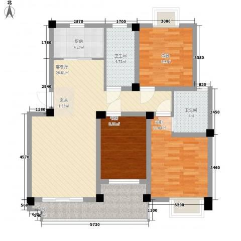 骏和天城3室1厅2卫1厨109.00㎡户型图
