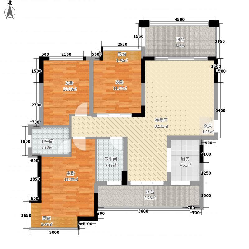 恒宇・海岸华府8.34㎡一区1-3栋楼北向户型3室2厅2卫1厨
