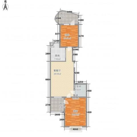 千禧学府苑2室1厅1卫1厨87.37㎡户型图