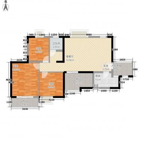 金陵王榭3室1厅1卫1厨109.00㎡户型图