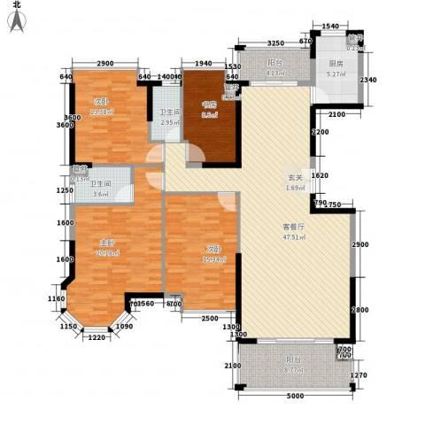 名汇大厦4室1厅2卫1厨130.14㎡户型图