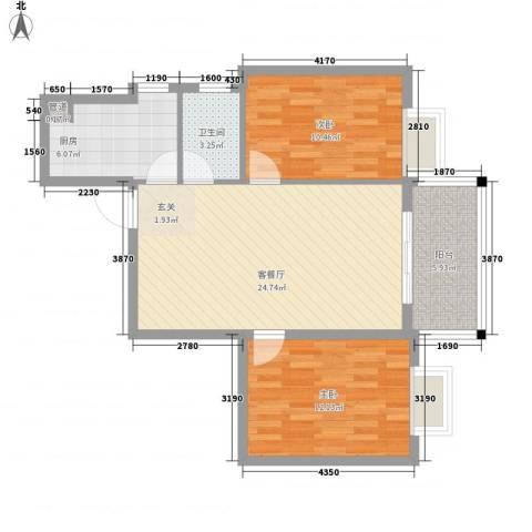 太微花园2室1厅1卫1厨89.00㎡户型图