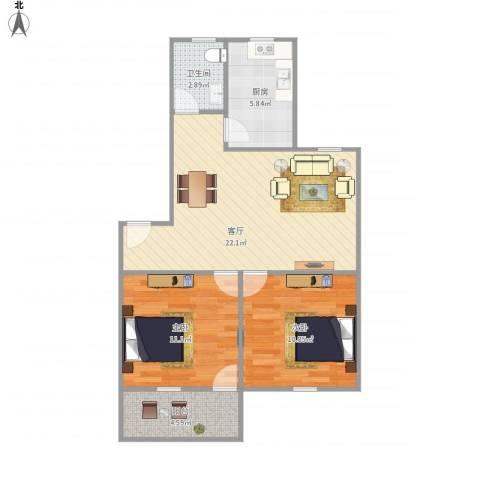 屿后南里2室1厅1卫1厨78.00㎡户型图