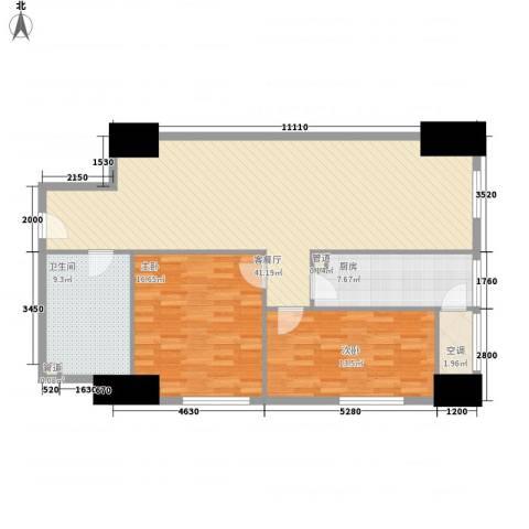 海亮广场一期2室1厅1卫1厨129.00㎡户型图