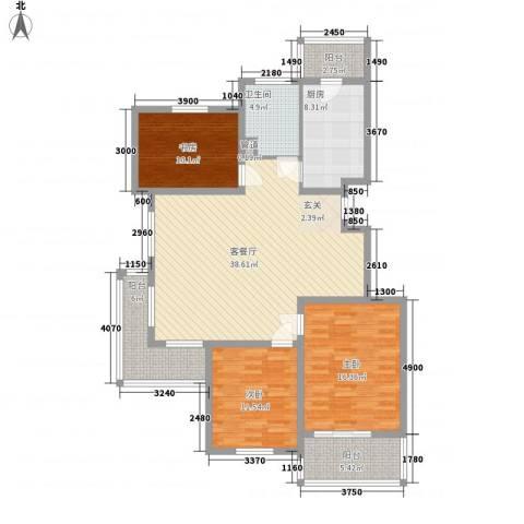 太湖惠泉花园二期3室1厅1卫1厨126.00㎡户型图