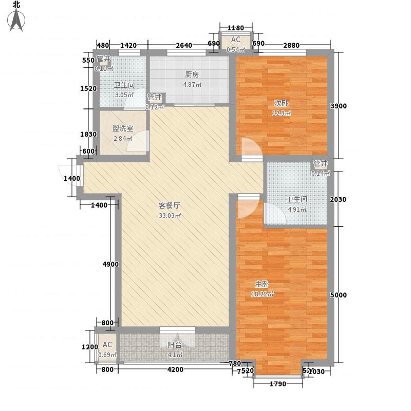 晶华名园户型2室1厅1卫1厨