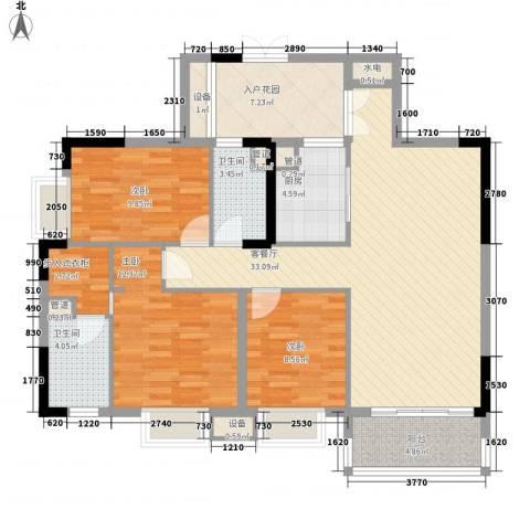 保利花园3室1厅2卫1厨134.00㎡户型图