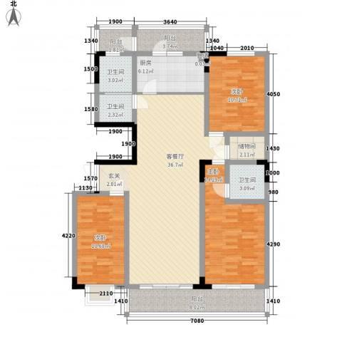 万豪苑3室1厅3卫1厨150.00㎡户型图