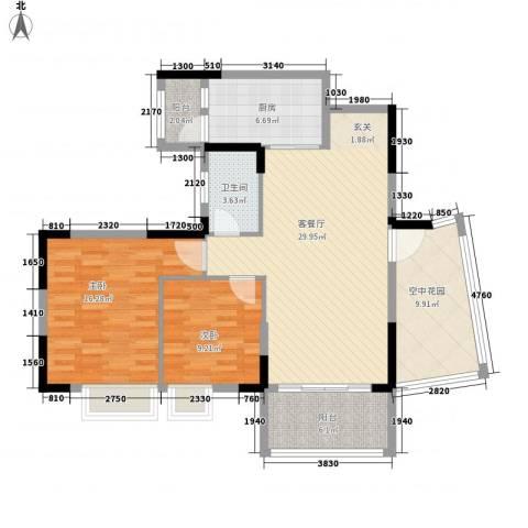 康怡丽苑2室1厅1卫1厨101.00㎡户型图