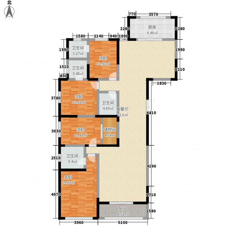 新千国际广场233.00㎡25号楼A户型4室2厅4卫1厨
