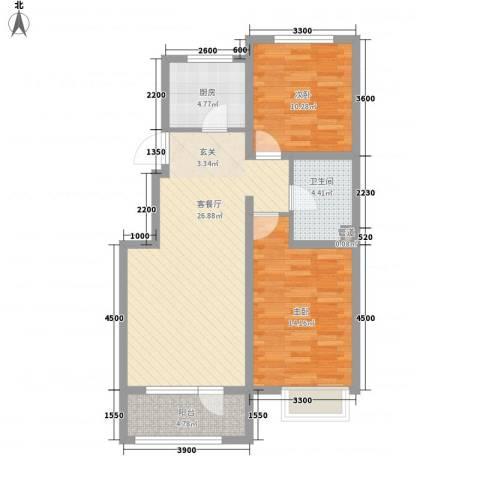 戴河水岸星城2室1厅1卫1厨94.00㎡户型图