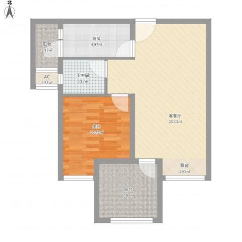 协信中心1室1厅1卫1厨77.00㎡户型图