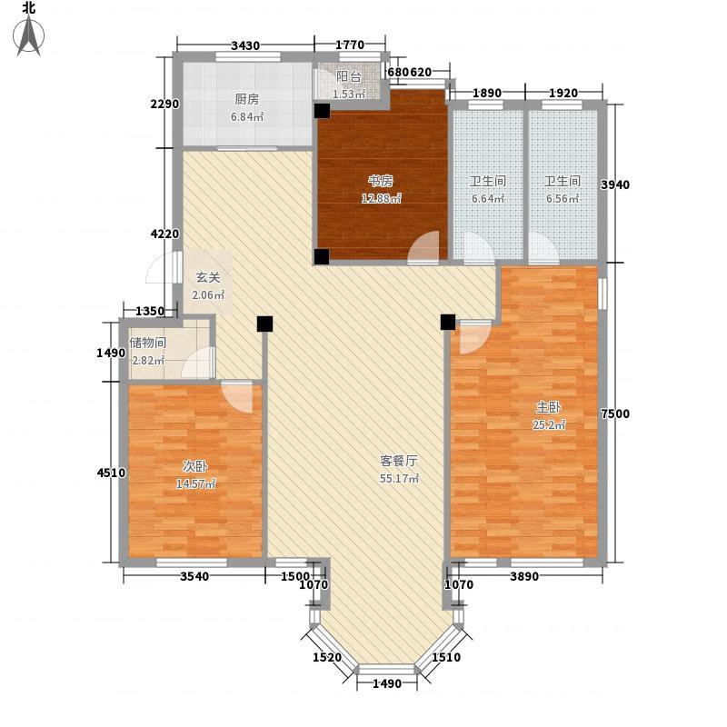 新星壹品155.13㎡H户型3室2厅2卫1厨