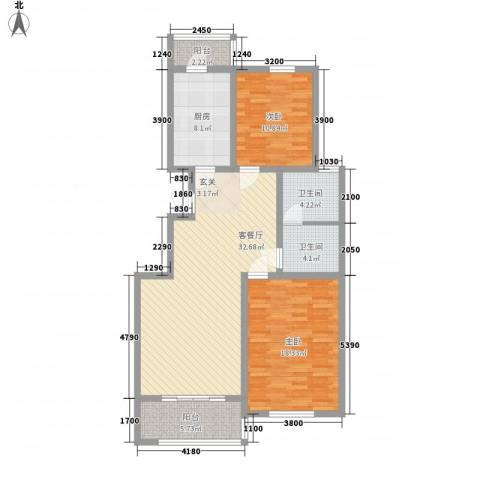 太湖惠泉花园二期2室1厅2卫1厨113.00㎡户型图