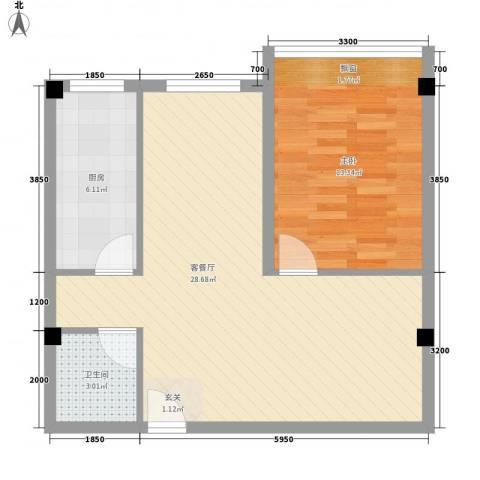 王家湾功臣楼1室1厅1卫1厨51.14㎡户型图