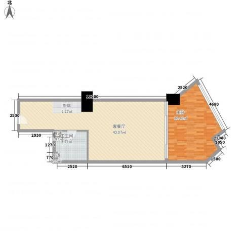 海亮广场一期1室1厅1卫0厨97.00㎡户型图