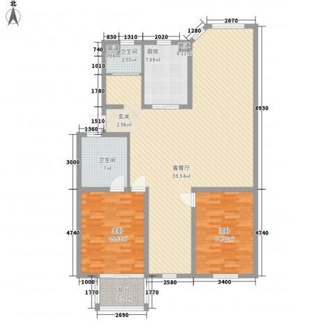 太湖惠泉花园二期2室1厅2卫1厨137.00㎡户型图