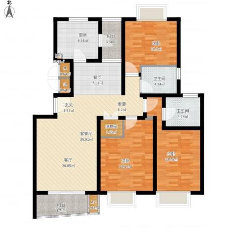 万邦都市花园3室1厅2卫1厨151.00㎡户型图