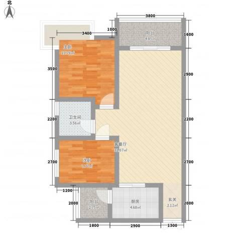 汇泽・蓝海湾2室1厅1卫1厨65.47㎡户型图