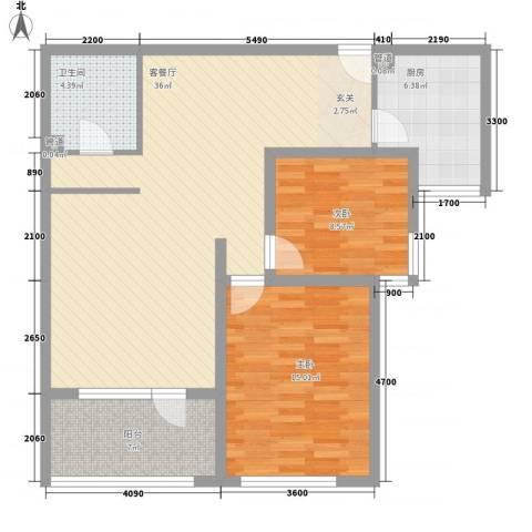 吉利家园2室1厅1卫1厨110.00㎡户型图