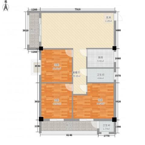 康城尚域3室1厅2卫1厨93.91㎡户型图