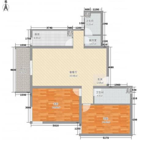 吉利家园2室1厅2卫1厨122.00㎡户型图