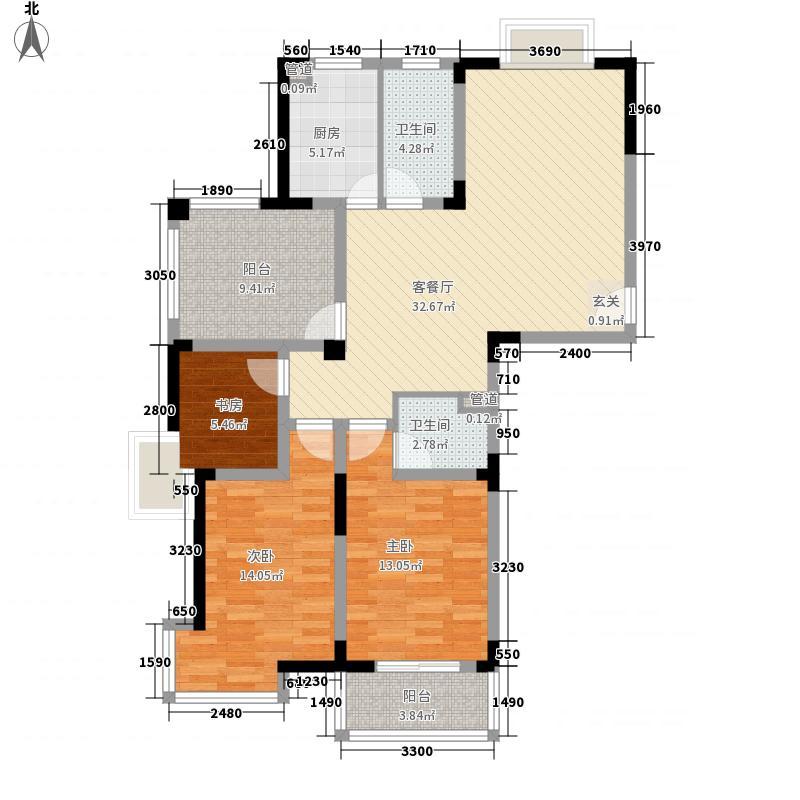 金润华庭128.55㎡金润华庭户型图J13室2厅1卫户型3室2厅1卫
