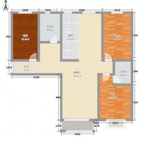 水岸茗苑3室1厅2卫0厨152.00㎡户型图