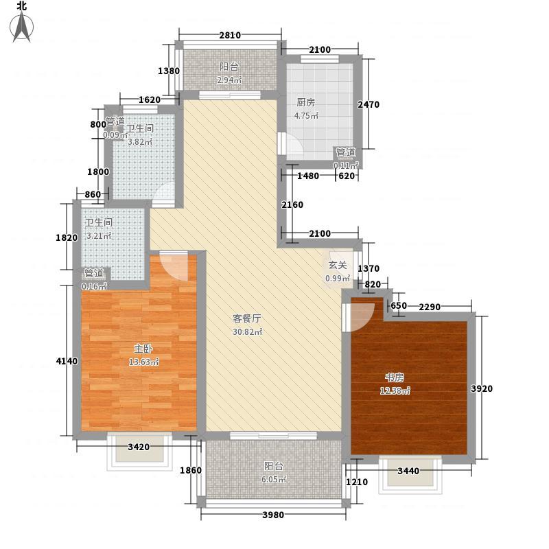 东方城市华庭113.41㎡东方城市华庭2室2厅2卫1厨户型2室2厅2卫1厨