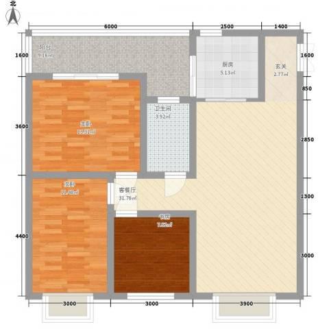 汇泽・蓝海湾3室1厅1卫1厨82.37㎡户型图