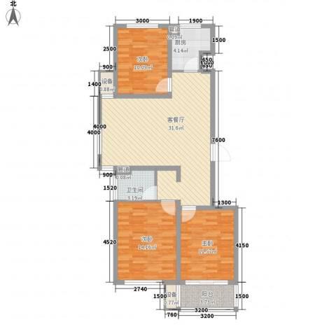 佰瑞廷3室1厅1卫1厨80.31㎡户型图