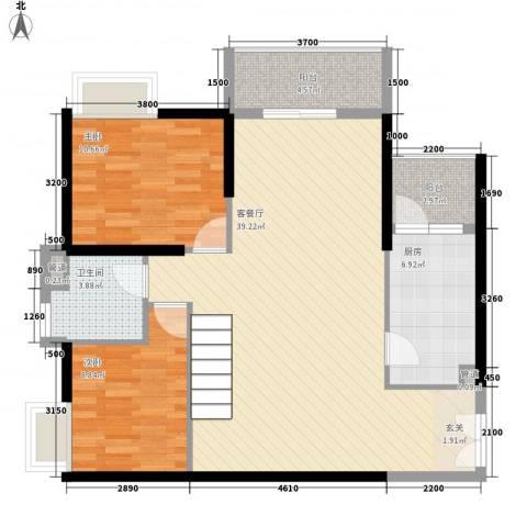 金宇名都2室1厅1卫1厨90.00㎡户型图