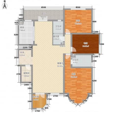 新新怡园二期3室1厅2卫1厨145.03㎡户型图