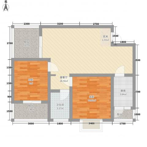汇泽・蓝海湾2室1厅1卫1厨83.00㎡户型图