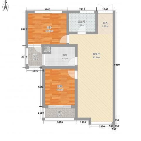 水岸茗苑2室1厅1卫1厨94.00㎡户型图
