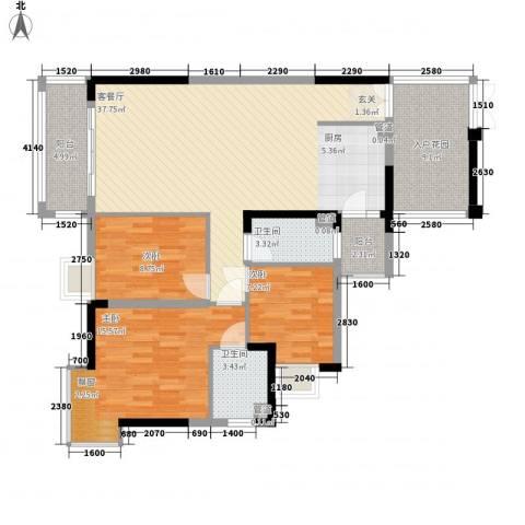 富盈加州阳光3室1厅2卫0厨132.00㎡户型图