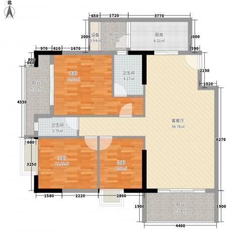 第一国际3室1厅2卫1厨142.00㎡户型图