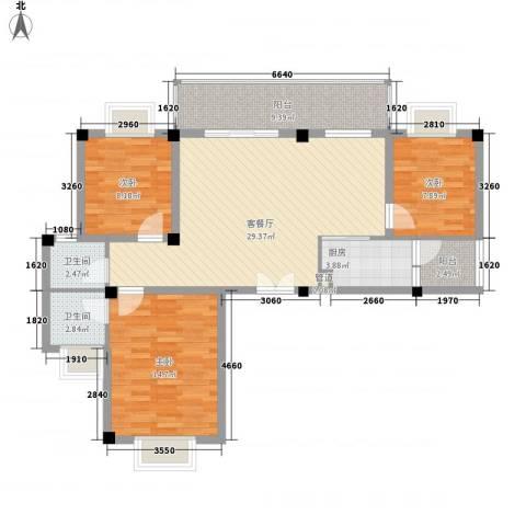 佳信・红林新都阳光海岸3室1厅2卫1厨116.00㎡户型图