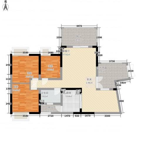 娱乐城3室1厅1卫1厨140.00㎡户型图
