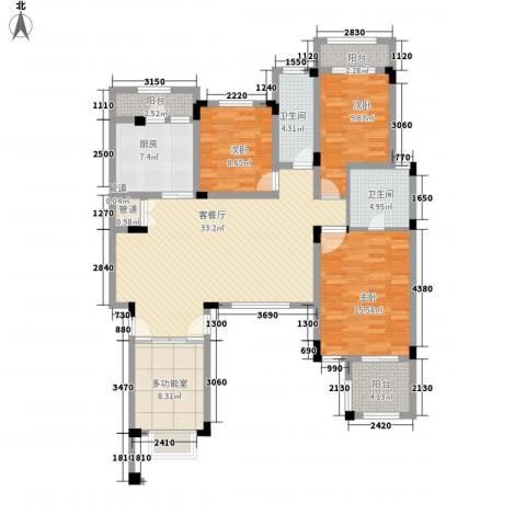 城开国际学园3室1厅2卫1厨148.00㎡户型图