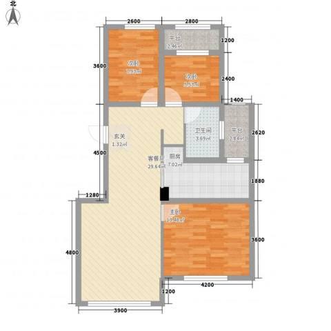 天麓3室1厅1卫1厨72.71㎡户型图