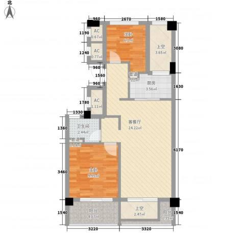 绿城�园2室1厅1卫1厨90.00㎡户型图