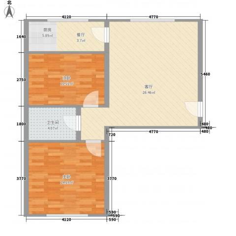万盛佳园2室1厅1卫1厨84.00㎡户型图