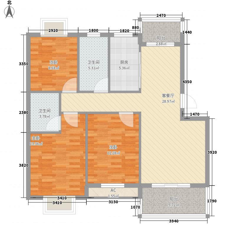 金地花园124.00㎡多层D1户型3室2厅2卫1厨