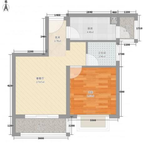壹克拉公馆1室1厅1卫1厨39.40㎡户型图