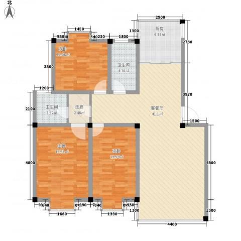 金鑫花苑3室1厅2卫1厨140.00㎡户型图